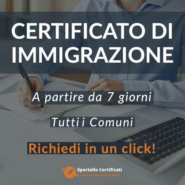 certificato di immigrazione